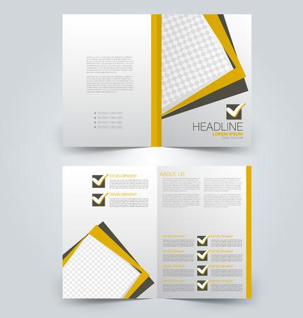 Plier le modèle de brochure. Conception de fond de flyer. Couverture de magazine ou de livre, rapport d'activité, brochure publicitaire. Couleur jaune et marron. Illustration vectorielle.