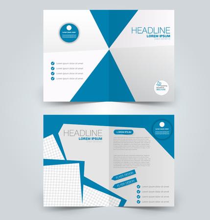 Fold brochure template. Flyer background design. Magazine or book cover, business report, advertisement pamphlet. Blue color. Vector illustration.