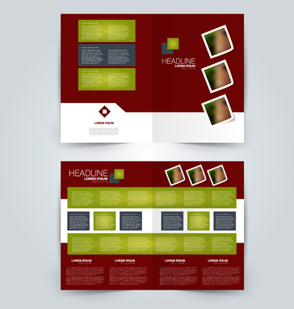 Fold brochure template. Flyer background design. Magazine or book cover, business report, advertisement pamphlet. Green and red color. Vector illustration. Vectores