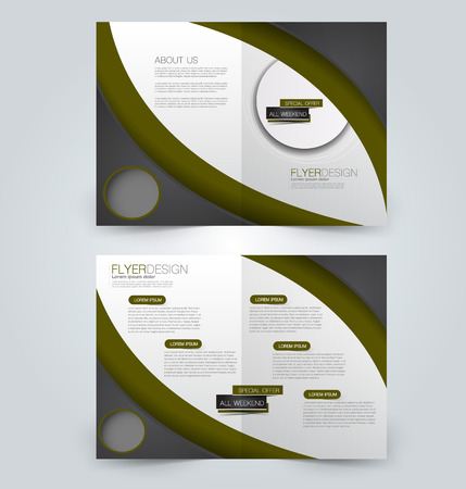 Fold brochure template. Flyer background design. Magazine or book cover, business report, advertisement pamphlet. Black and green color.