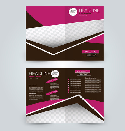 Fold brochure template. Flyer background design. Magazine or book cover, business report, advertisement pamphlet. Pink and brown color. Vectores