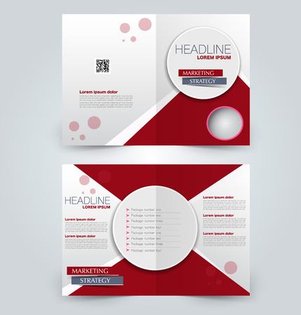 Fold brochure template. Flyer background design. Magazine or book cover, business report, advertisement pamphlet. Red color.