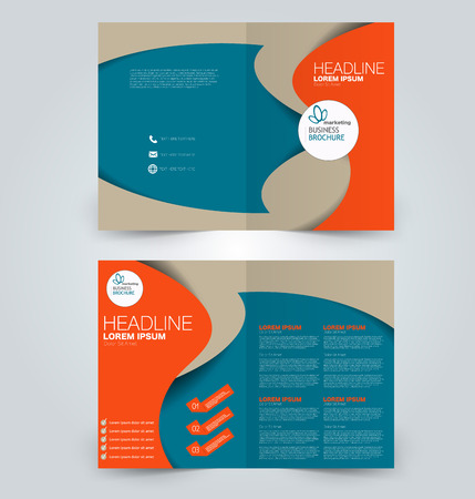 Fold brochure template. Flyer background design. Magazine cover, business report, advertisement pamphlet. Blue and orange color.