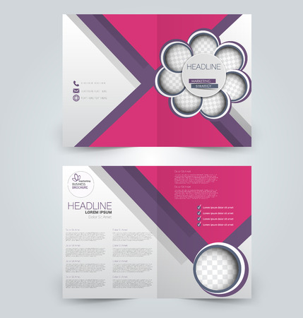 Fold brochure template. Flyer background design. Magazine or book cover, business report, advertisement pamphlet. Purple and pink color.