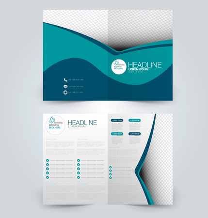 Fold brochure template. Flyer background design. Magazine or book cover, business report, advertisement pamphlet. Blue color.