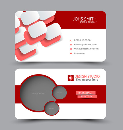 Business card template. Modern flat design. Abstract horizontal banner. Red color. Vector illustration. Stock Illustratie