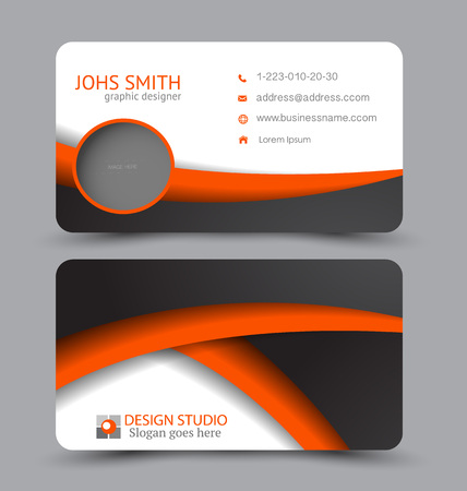Business card. Corporate identity style. Modern creative template. Vector illustration. Black and orange color.