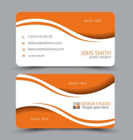 Plantilla de tarjeta de visita. Diseño vectorial plano. Plantilla horizontal creativa. Ilustración vectorial. Color naranja.