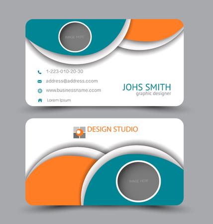 Business card. Design set template for company corporate style. Vector illustration. Blue and orange color. Vektoros illusztráció