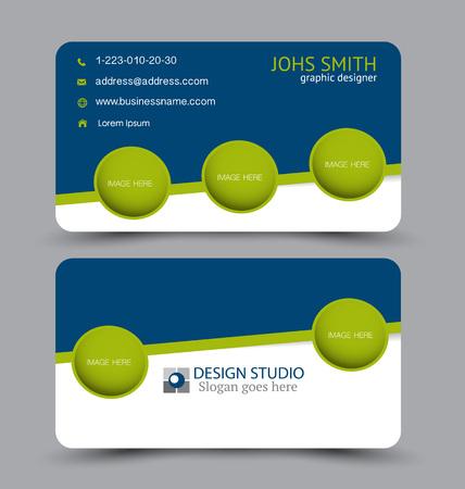 Tarjeta de visita. Plantilla de conjunto de diseño para el estilo corporativo de la empresa. Ilustración vectorial. Color azul y verde. Ilustración de vector