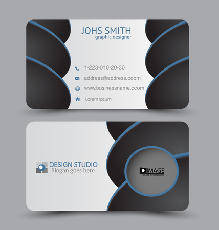 Business card template. Flat vector design. Creative horizontal template. Vector illustration. Black and blue color.