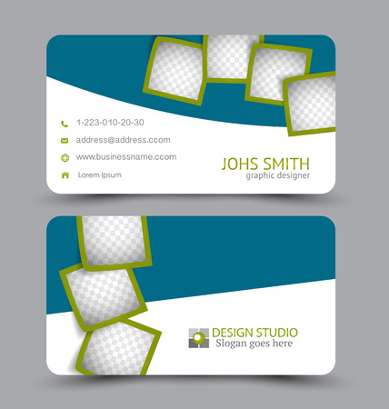 Business card. Corporate identity style. Modern creative template. Vector illustration. Blue and green color.