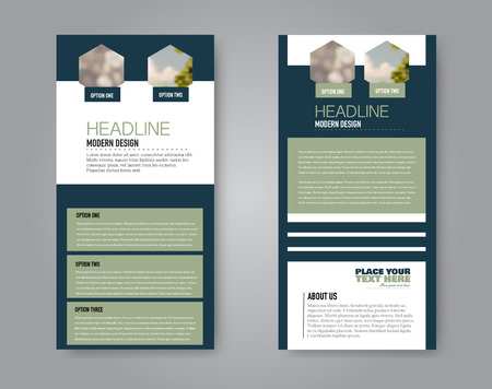 Narrow flyer and leaflet design. Set of two side brochure templates. Vertical banners. Blue and green colors. Vector illustration mockup. 스톡 콘텐츠 - 125879187