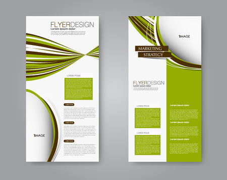 Narrow flyer and leaflet design. Set of two side brochure templates. Vertical banners. Brown and green color. Vector illustration mockup.