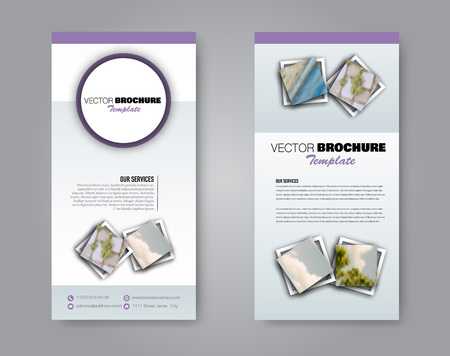 Narrow flyer and leaflet design. Set of two side brochure templates. Vertical banners. Purple colors. Vector illustration mockup.