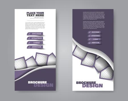 Narrow flyer and leaflet design. Set of two side brochure templates. Vertical banners. Purple colors. Vector illustration mockup.