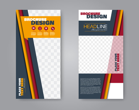 Narrow flyer and leaflet design. Set of two side brochure templates. Vertical banners. Red and orange color. Vector illustration mockup.