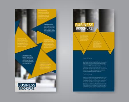 Narrow flyer and leaflet design. Set of two side brochure templates. Vertical banners. Blue and orange color. Vector illustration mockup. Ilustração