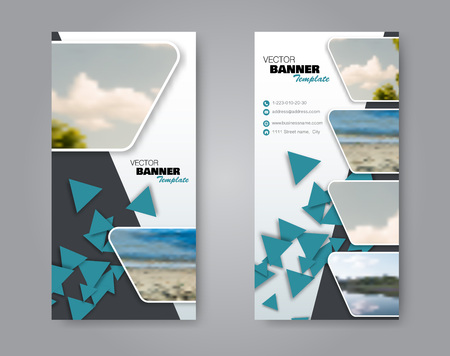 Narrow flyer and leaflet design. Set of two side brochure templates. Vertical banners. Blue colors. Vector illustration mockup. 스톡 콘텐츠 - 125879221
