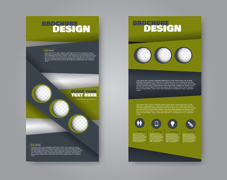 Narrow flyer and leaflet design. Set of two side brochure templates. Vertical banners. Green color. Vector illustration mockup. 写真素材 - 125879232