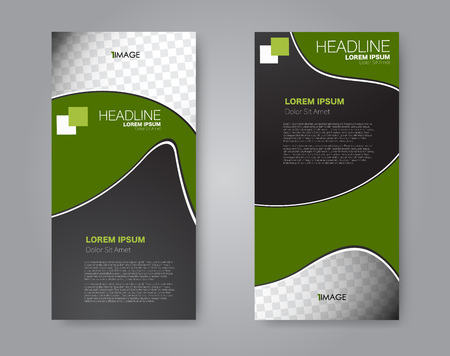 Narrow flyer and leaflet design. Set of two side brochure templates. Vertical banners. Black and green color. Vector illustration mockup.