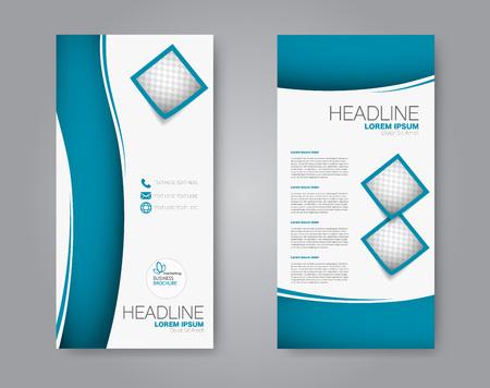 Narrow flyer and leaflet design. Set of two side brochure templates. Vertical banners. Blue color. Vector illustration mockup.