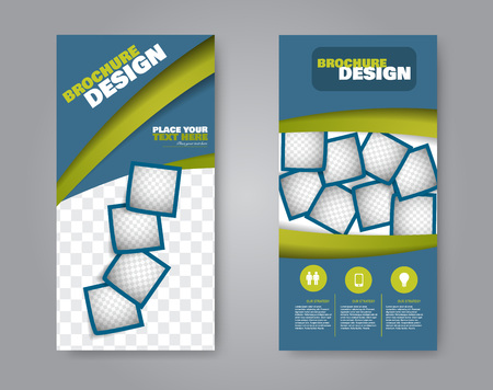 Narrow flyer and leaflet design. Set of two side brochure templates. Vertical banners. Blue and greene colors. Vector illustration mockup.