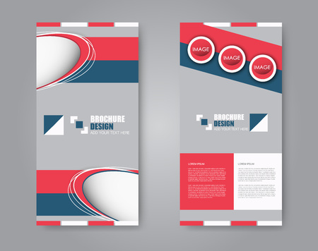 Vector flyer and leaflet design. Set of two side brochure templates. Vertical banners. Blue and red color.