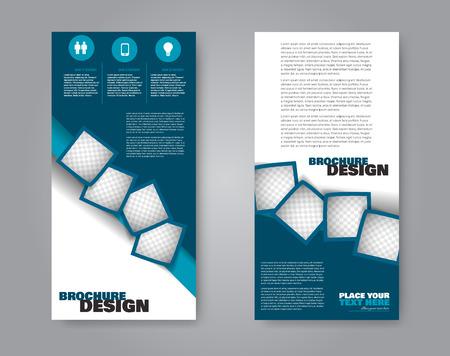 Narrow flyer and leaflet design. Set of two side brochure templates. Vertical banners. Blue colors. Vector illustration mockup. Vektoros illusztráció