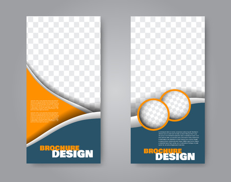 Narrow flyer and leaflet design. Set of two side brochure templates. Vertical banners. Blue and orange colors. Vector illustration mockup.