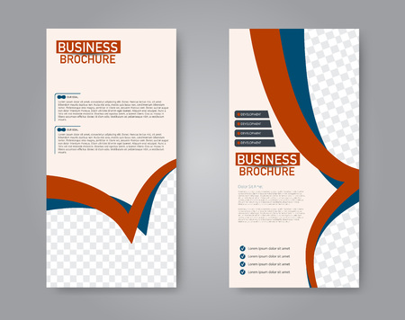 Narrow flyer and leaflet design. Set of two side brochure templates. Vertical banners. Blue and red color. Vector illustration mockup.