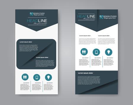 Schmales Flyer- und Broschürendesign. Satz von zwei seitlichen Broschürenvorlagen. Vertikale Banner. Blaue Farbe. Vektorillustrationsmodell.