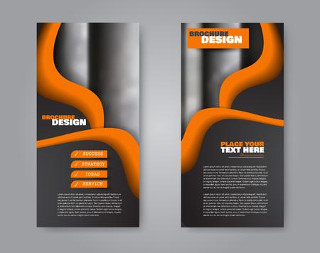 Narrow flyer and leaflet design. Set of two side brochure templates. Vertical banners. Black and orange colors. Vector illustration mockup. Illusztráció