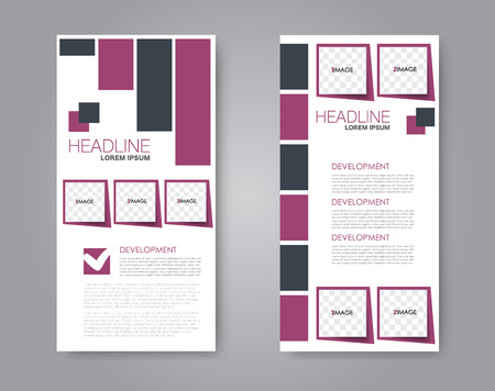 Vector flyer and leaflet design. Set of two side brochure templates. Vertical banners. Black and pink color.