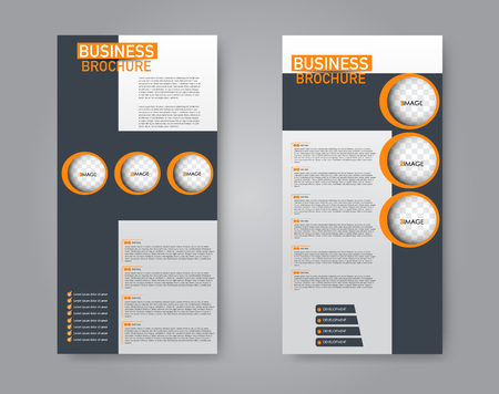 Narrow flyer and leaflet design. Set of two side brochure templates. Vertical banners. Orange and grey color. Vector illustration mockup. 스톡 콘텐츠 - 125879339