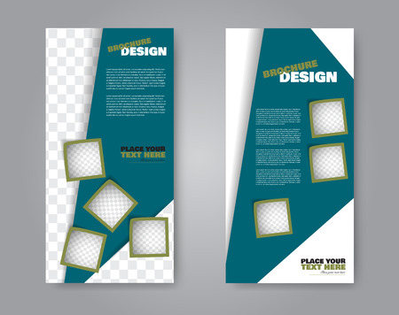 Narrow flyer and leaflet design. Set of two side brochure templates. Vertical banners. Green colors. Vector illustration mockup.