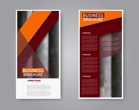 Narrow flyer and leaflet design. Set of two side brochure templates. Vertical banners. Orange and red color. Vector illustration mockup.
