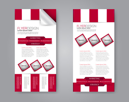 Vector narrow flyer and leaflet design. Set of two side brochure templates. Vertical banners. Red color.