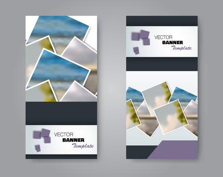 Narrow flyer and leaflet design. Set of two side brochure templates. Vertical banners. Purple colors. Vector illustration mockup. Ilustração Vetorial