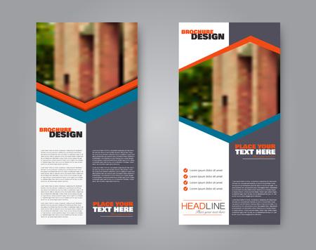Narrow flyer and leaflet design. Set of two side brochure templates. Vertical banners. Blue and orange color. Vector illustration mockup. Illusztráció