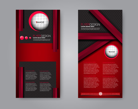 Vector narrow flyer and leaflet design. Set of two side brochure templates. Vertical banners. Black and red color.