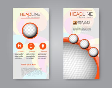 Narrow flyer and leaflet design. Set of two side brochure templates. Vertical banners. Orange colors. Vector illustration mockup.
