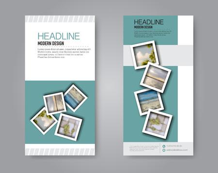 Narrow flyer and leaflet design. Set of two side brochure templates. Vertical banners. Green colors. Vector illustration mockup.