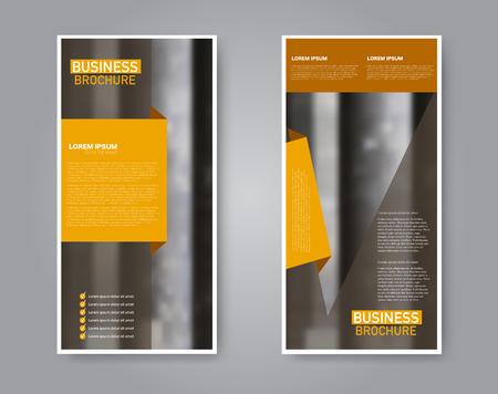 Narrow flyer and leaflet design. Set of two side brochure templates. Vertical banners. Orange color. Vector illustration mockup. Illusztráció