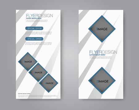 Vector flyer and leaflet design. Set of two side brochure templates. Vertical banners. Blue color.