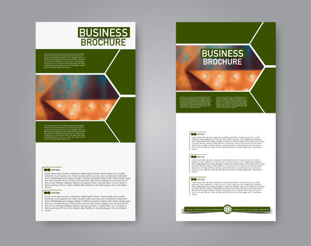 Narrow flyer and leaflet design. Set of two side brochure templates. Vertical banners. Green color. Vector illustration mockup. 스톡 콘텐츠 - 125879481