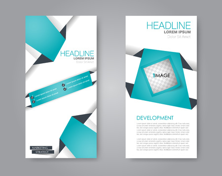 Vector flyer and leaflet design. Set of two side brochure templates. Vertical banners. Green color.