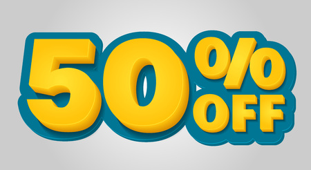 50% off discount banner. Special offer sale tag in 3d style. Blue and yellow vector illustration. Çizim