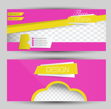 Flyer banner or web header template set. Vector illustration promotion design background. Pink and yellow color.