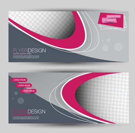Flyer banner or web header template set. Vector illustration promotion design background. Pink and grey color.